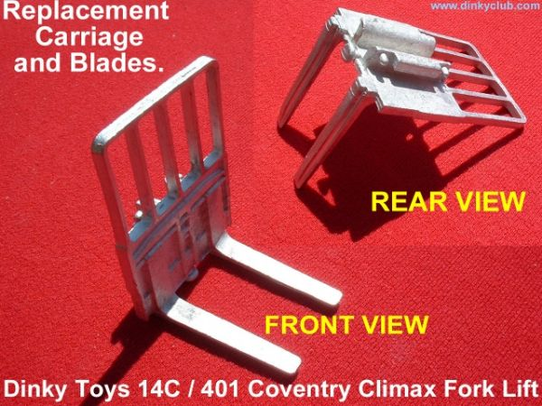 Dinky Toys 14C / 401 COVENTRY CLIMAX FORK LIFT CARRIAGE and BLADES UNPAINTED [ Each ]